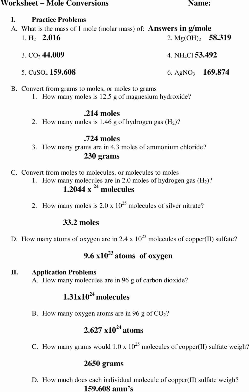 Worksheet Mole Problems Answers Elegant Ic 8 Mole Conversion Problems Worksheet Breadandhearth