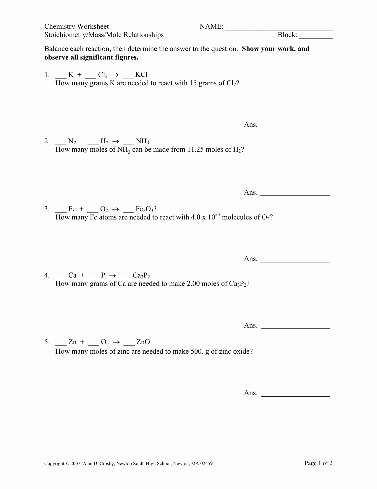Worksheet Mole Problems Answers Elegant Mole to Mole Stoichiometry Worksheet