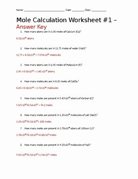 Worksheet Mole Problems Answers Fresh Mole Calculation with Avogadro S Number Worksheet
