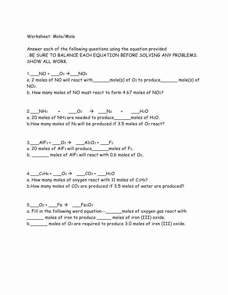 Worksheet Mole Problems Answers Luxury Mole to Mole Stoichiometry Worksheet