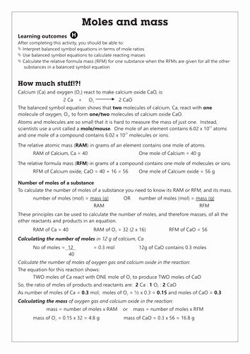 Worksheet Mole Problems Answers Unique C4 1 Moles and Mass Worksheet Gcse Aqa Unit C4 Chemical