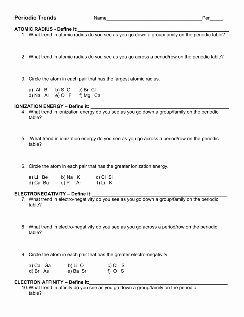 Worksheet Periodic Table Trends New Trends Of the Periodic Table Worksheet