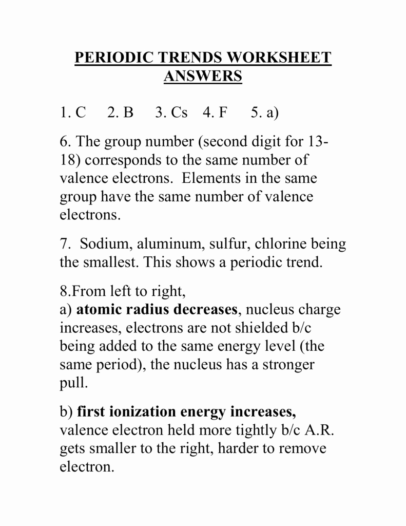 Worksheet Periodic Trends Answers Beautiful Periodic Trends Worksheet Answers