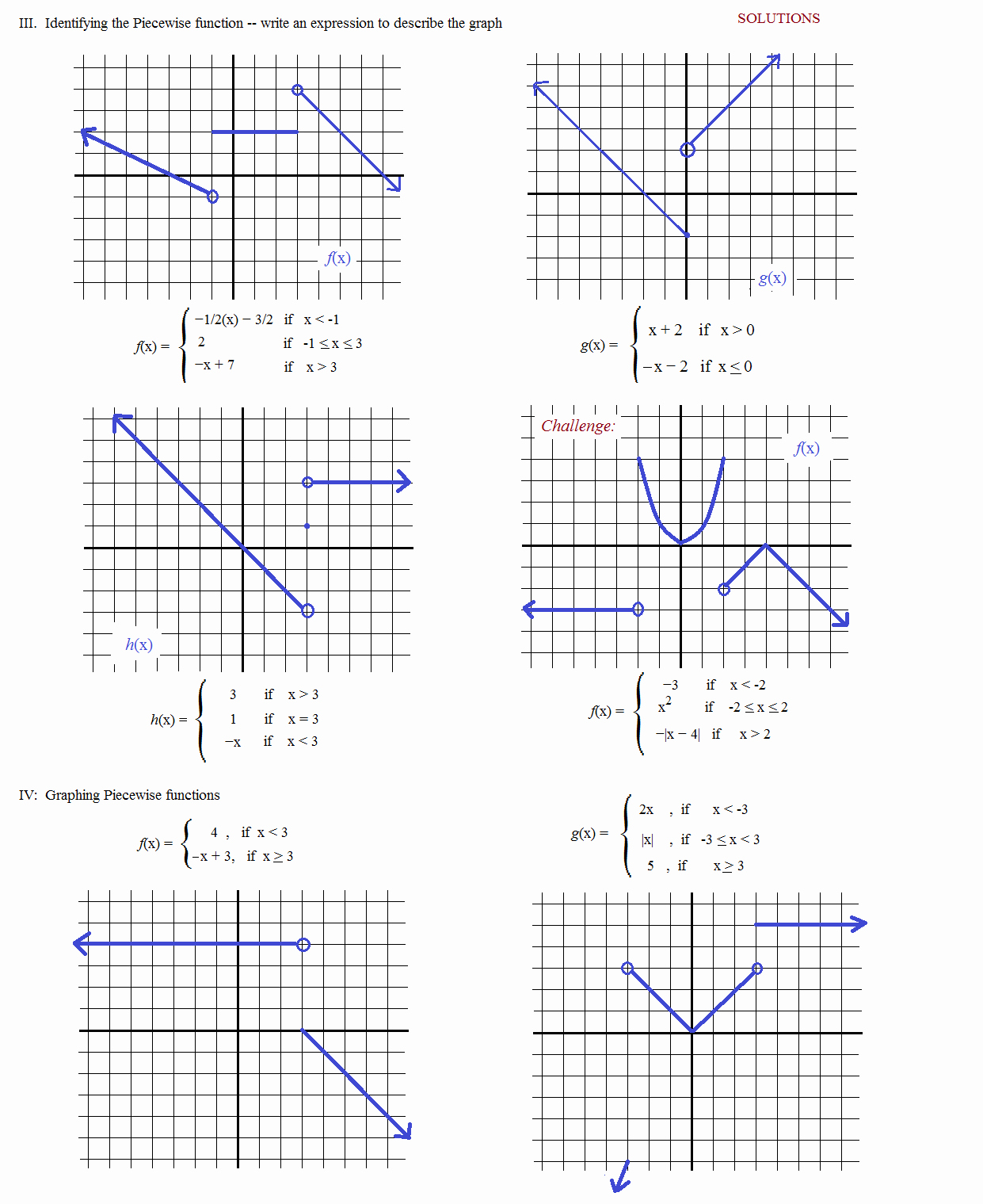 Worksheet Piecewise Functions Algebra 2 Awesome Math Plane Piecewise Functions & F X Notation