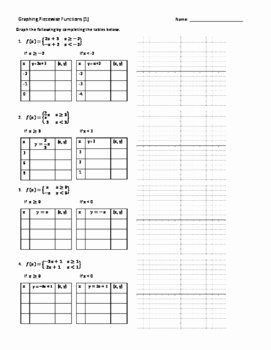 Worksheet Piecewise Functions Answer Key Awesome Piece Wise Functions Evaluate & Graph 5 Practice
