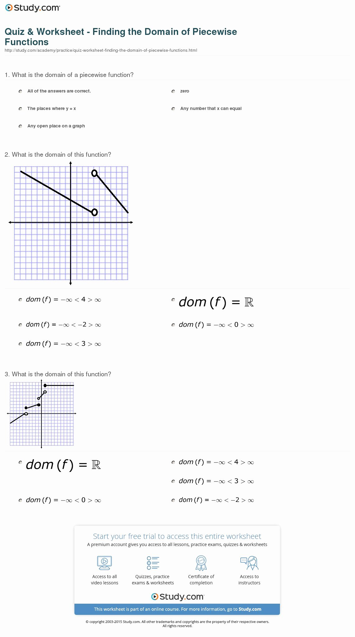 Worksheet Piecewise Functions Answer Key Awesome Quiz & Worksheet Finding the Domain Of Piecewise