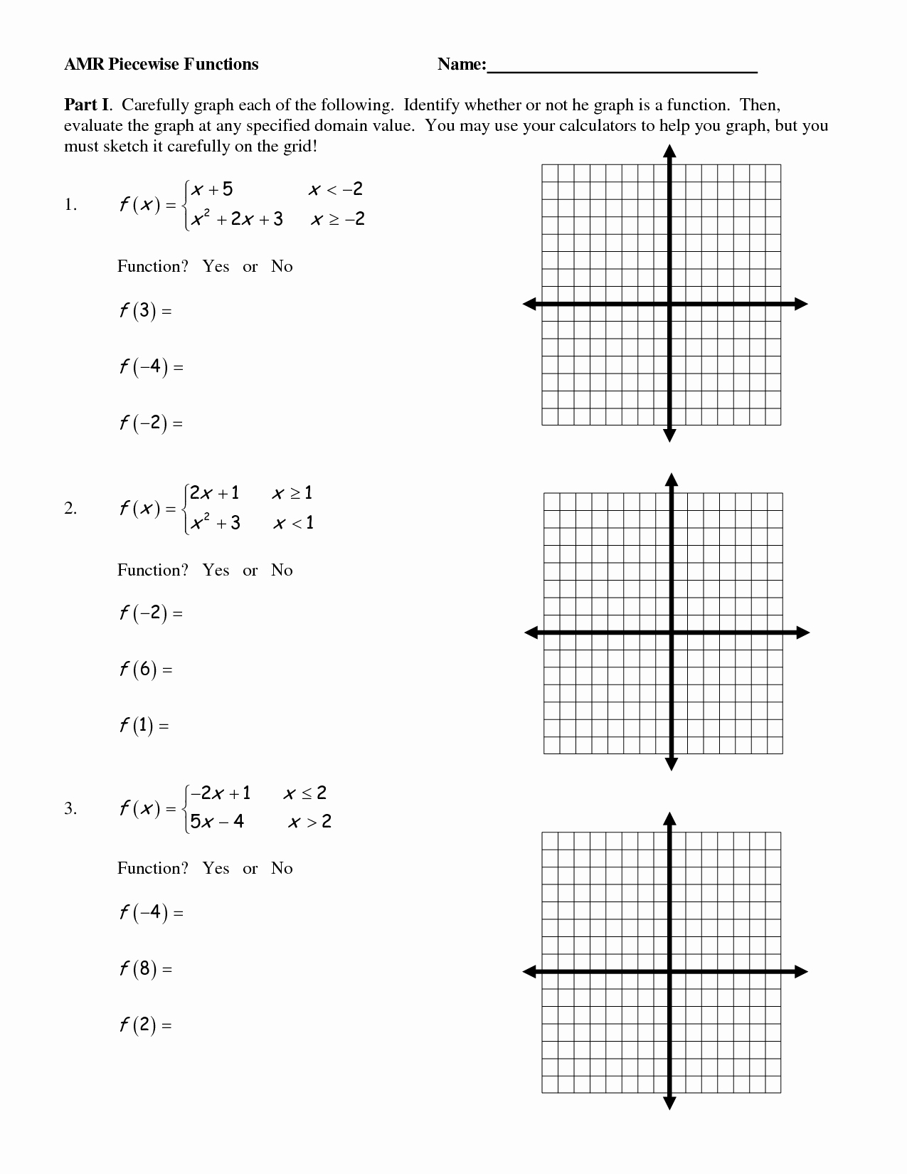 Worksheet Piecewise Functions Answer Key Inspirational 17 Best Of Graph Functions Worksheets Algebra