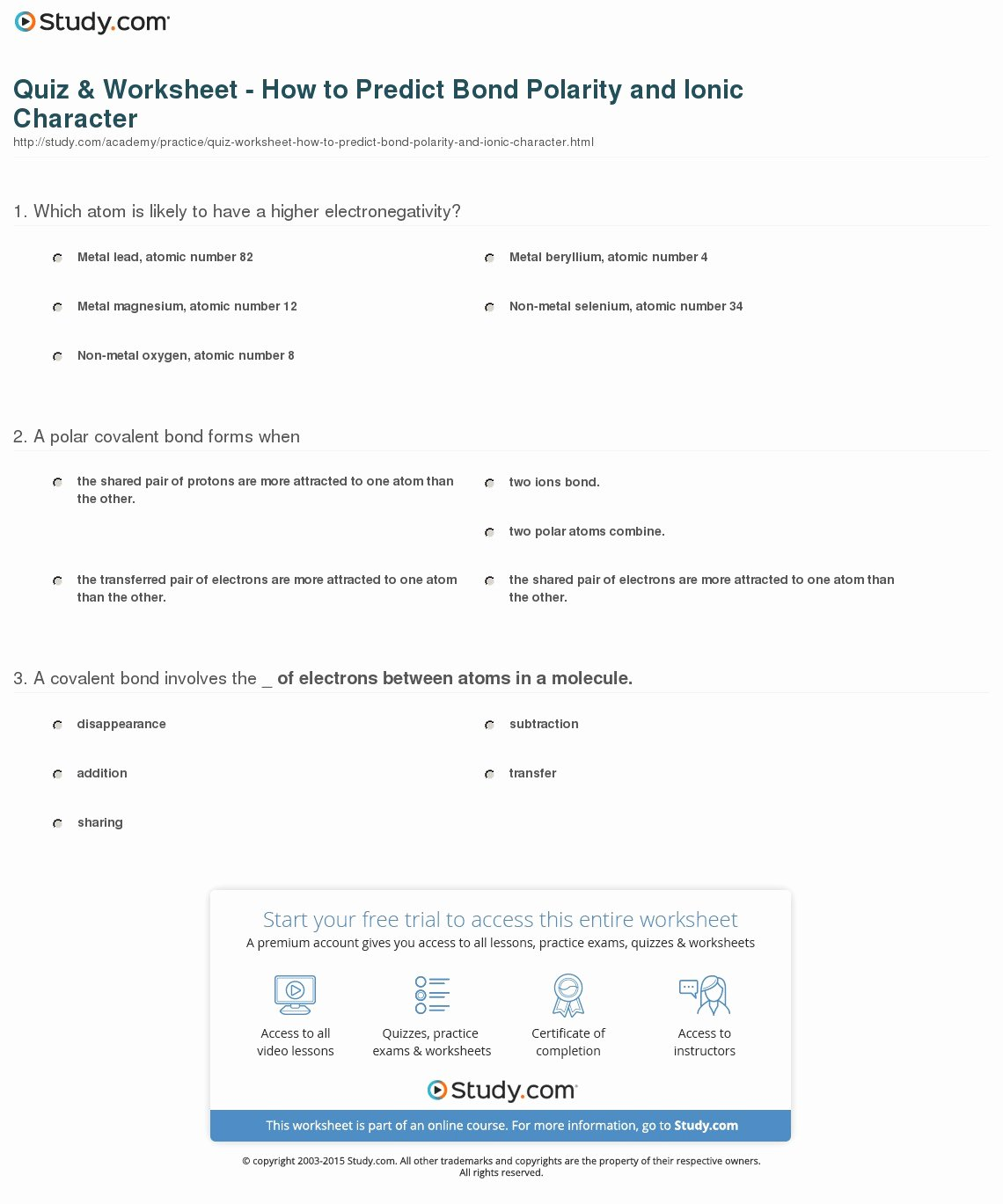Worksheet Polarity Of Bonds Answers Fresh Quiz & Worksheet How to Predict Bond Polarity and Ionic