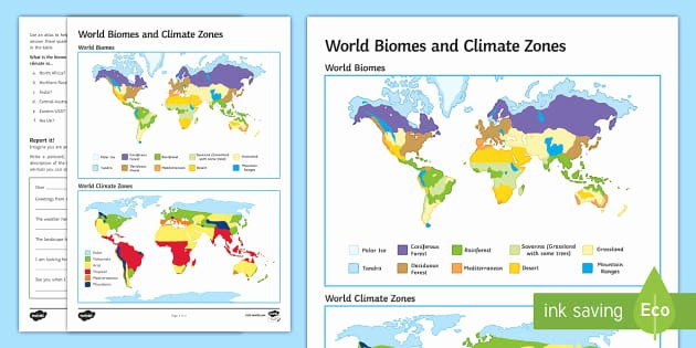 World Biome Map Coloring Worksheet Best Of World Biomes and Climate Zones Map Worksheet Activity Sheet