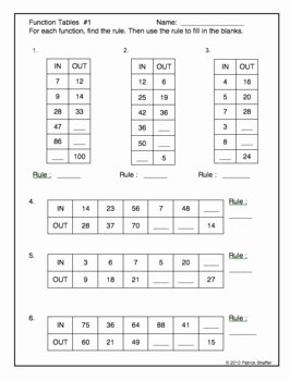 Writing A Function Rule Worksheet Lovely Function Tables 4 Worksheets All 4 Operations