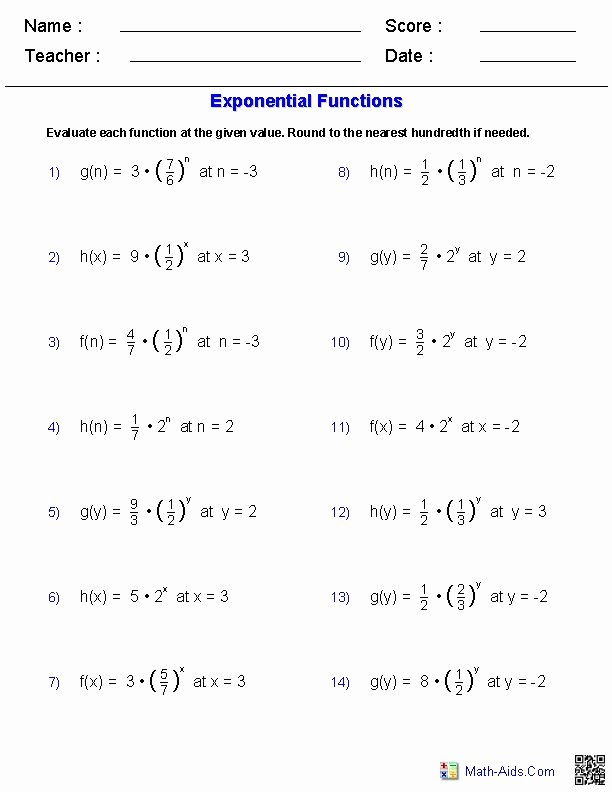 Writing A Function Rule Worksheet Unique Evaluating Exponents Functions Worksheets