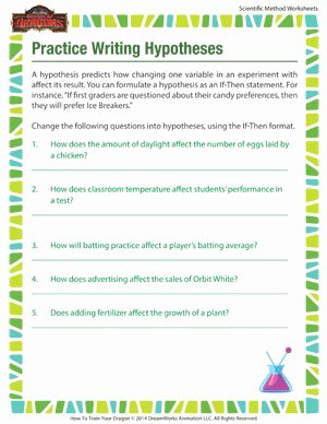 Writing A Hypothesis Worksheet New Practice Writing Hypotheses – Science Resources for Kids – sod