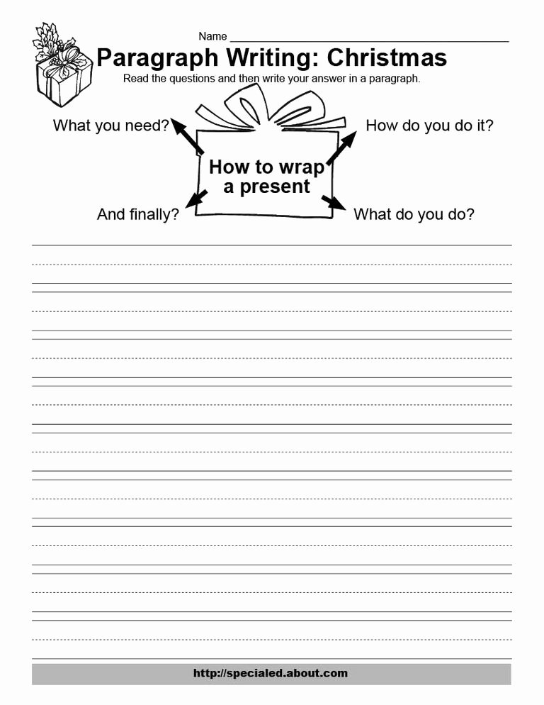 Writing A Paragraph Worksheet Best Of Christmas Writing Activities
