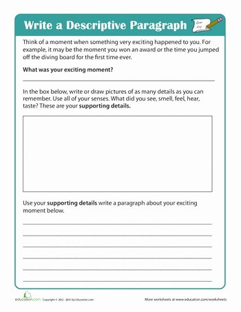 Writing A Paragraph Worksheet Elegant Write A Descriptive Paragraph