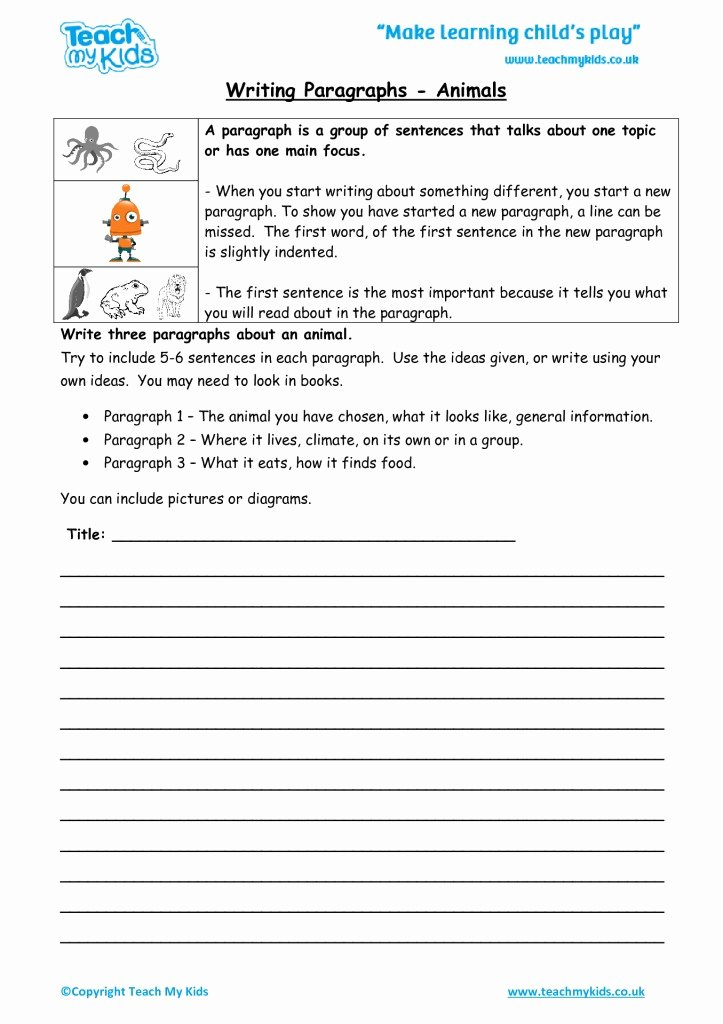 Writing A Paragraph Worksheet Elegant Writing Non Fiction 7 9 Years Tmk Education