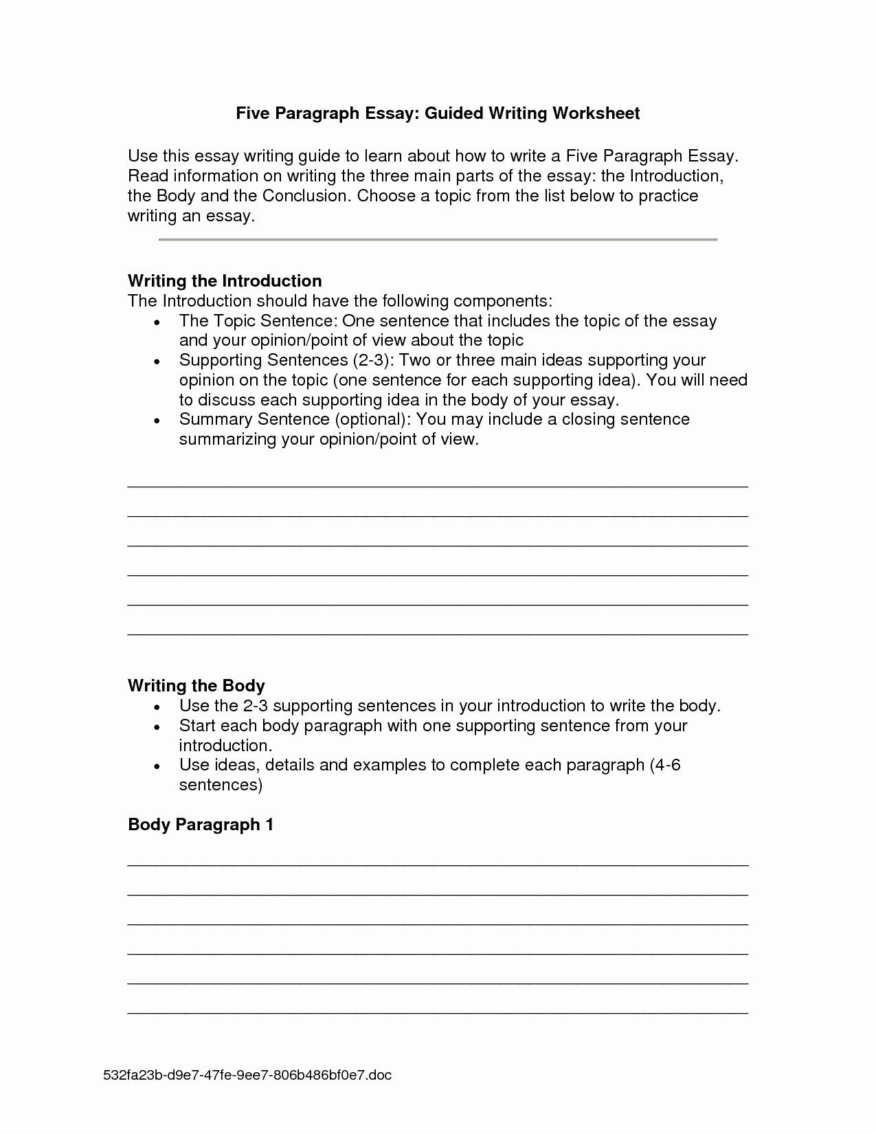 Writing A Paragraph Worksheet Lovely 11 Best Of Introduction Paragraph Worksheet Essay