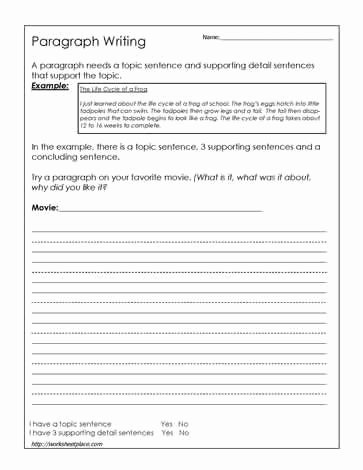 Writing A Paragraph Worksheet New Paragraph Writing Worksheet This Website Has some Good
