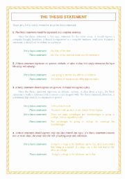 Writing A thesis Statement Worksheet Awesome English Worksheets thesis Statement Sentence