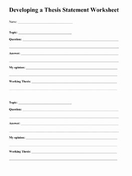 Writing A thesis Statement Worksheet Elegant thesis Statements Writing A Great thesis by Laura torres
