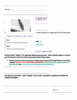 Writing A thesis Statement Worksheet Fresh 3 Point thesis Statement Worksheet by the Project Gurus