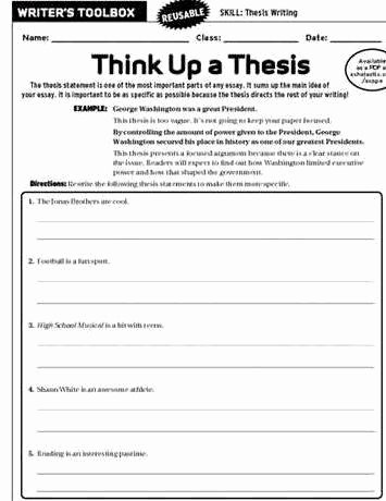 Writing A thesis Statement Worksheet Fresh thesis Writing Worksheets for Middle School