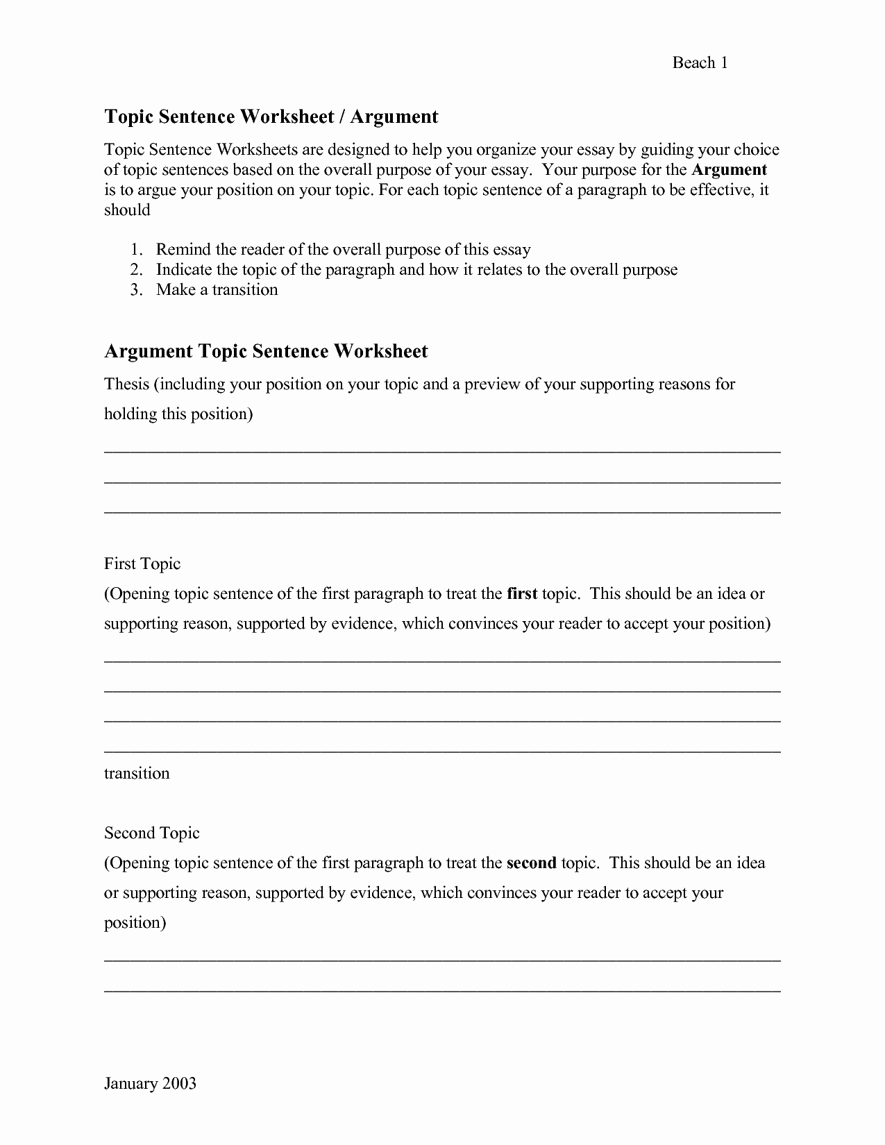 Writing A topic Sentence Worksheet Beautiful 16 Best Of topic Sentences Worksheets Pdf Writing