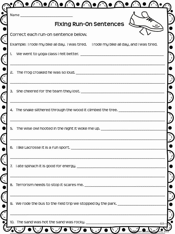 Writing A topic Sentence Worksheet Beautiful Rockin Resources Writing Mini Lesson 4 Run Sentences