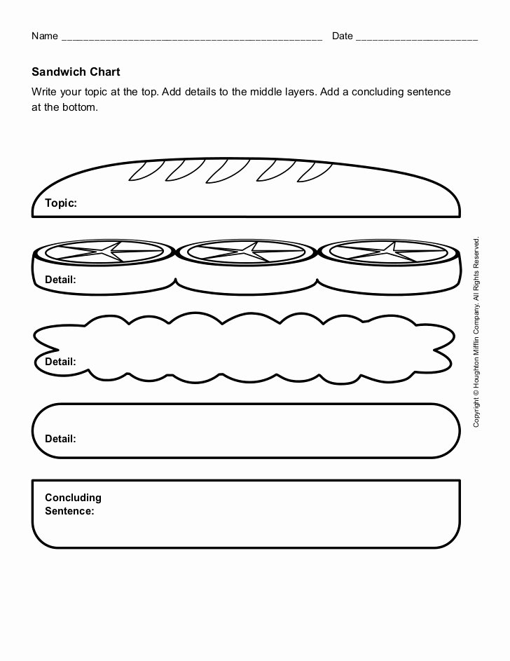 Writing A topic Sentence Worksheet Elegant Sandwich Paragraph organizer