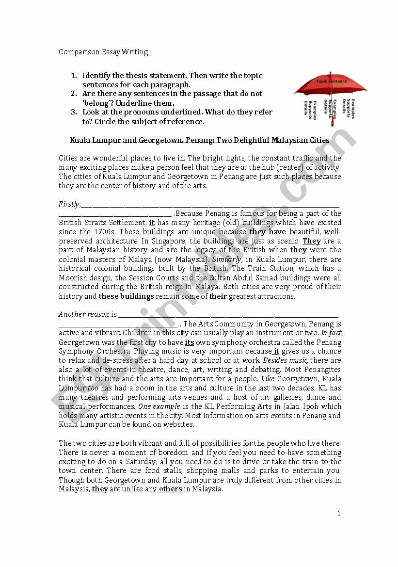 Writing A topic Sentence Worksheet Fresh Writing topic Sentences and Supporting Details Esl