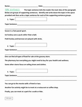 Writing A topic Sentence Worksheet Fresh Writing topic Sentences Worksheets & Activities by Lucia