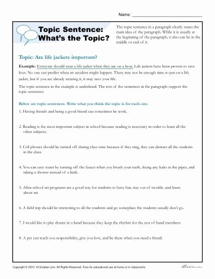 Writing A topic Sentence Worksheet Inspirational topic Sentence What's the topic
