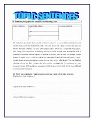 Writing A topic Sentence Worksheet Luxury topic Sentences Esl Worksheet by Yessi
