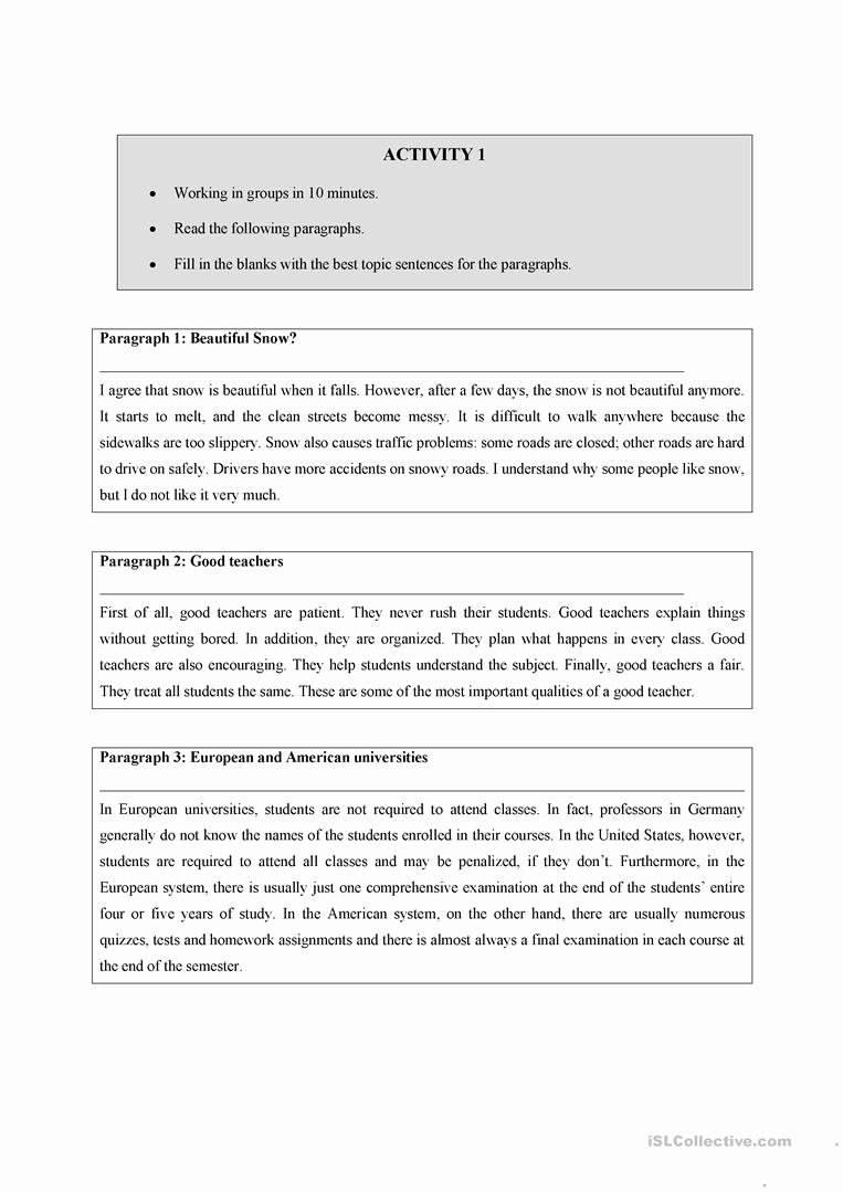 Writing A topic Sentence Worksheet Luxury Writing A topic Sentence Worksheet Free Esl Printable