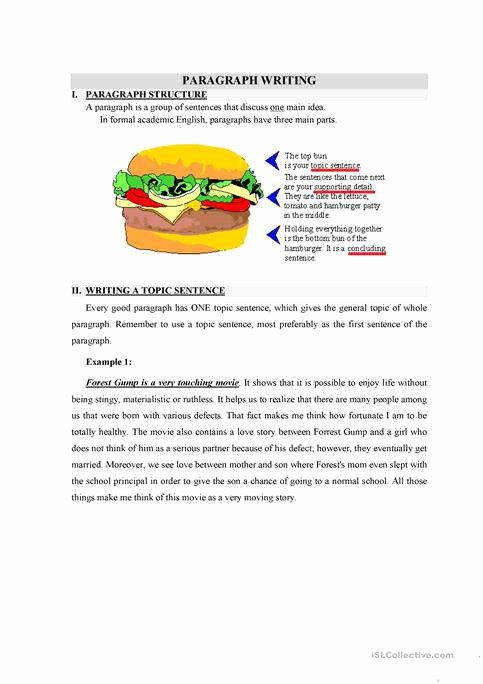 Writing A topic Sentence Worksheet New topic Sentence Worksheet