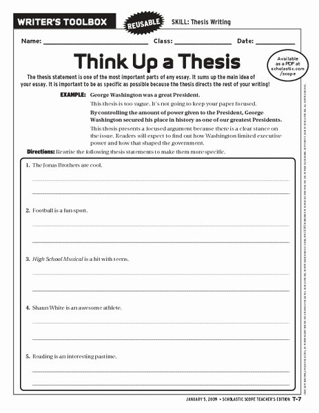 Writing A topic Sentence Worksheet Unique Think Up A thesis Worksheet for 6th 10th Grade