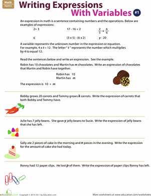 Writing Algebraic Expressions Worksheet Awesome Writing Expressions with Variables 1