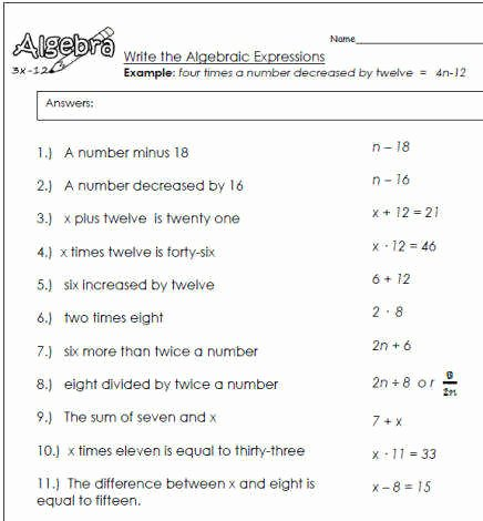 Writing Algebraic Expressions Worksheet Best Of Algebraic Expressions Worksheets