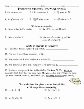Writing Algebraic Expressions Worksheet Elegant 8 Best Evaluate Expressions Images On Pinterest