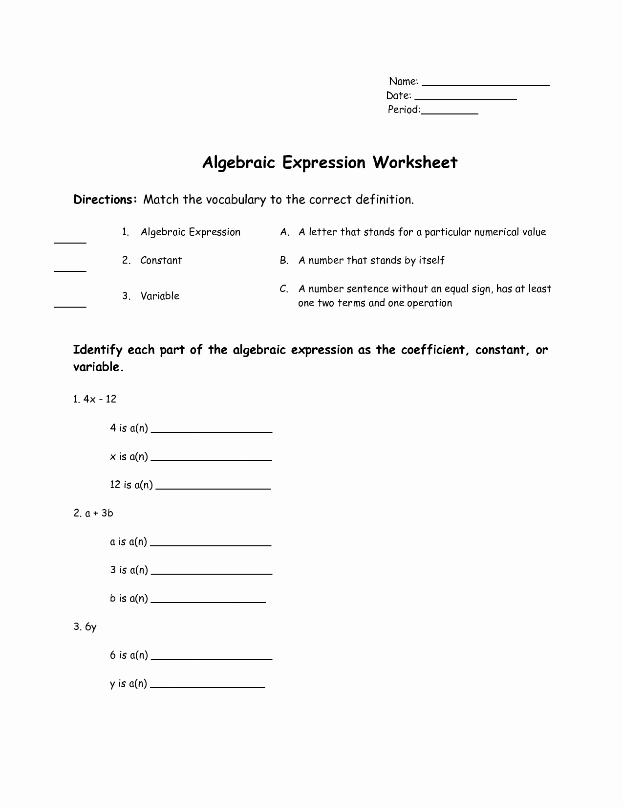 Writing Algebraic Expressions Worksheet Fresh Translating Verbal Sentences Into Equations Worksheet