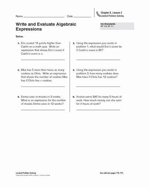 Writing Algebraic Expressions Worksheet Fresh Write and Evaluate Algebraic Expressions Worksheet for 6th