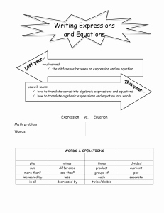 Writing and Evaluating Expressions Worksheet Awesome Writing and Evaluating Expressions Worksheet