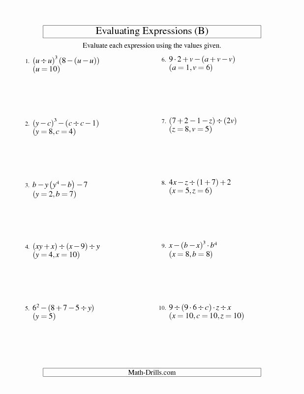 Writing and Evaluating Expressions Worksheet Lovely Algebraic Expressions Worksheets