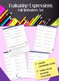Writing and Evaluating Expressions Worksheet Luxury Evaluating Expressions Worksheets