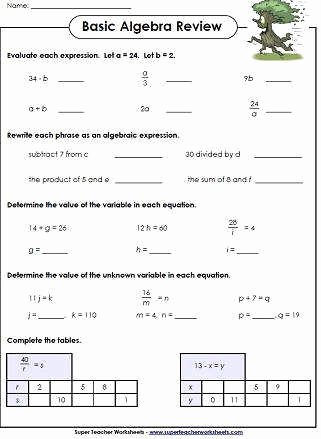 Writing and Evaluating Expressions Worksheet New Writing Expressions Worksheet