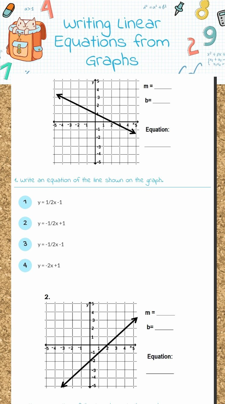 "Writing Equations From Graphs Worksheet Lovely Wizer Me Blended Worksheet ""writing Linear Equations From"
