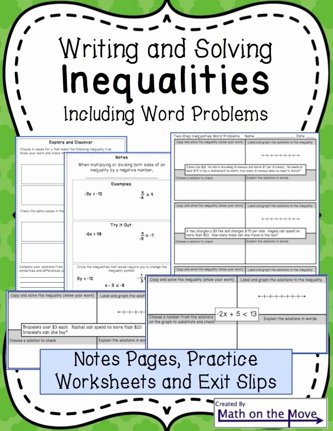 Writing Equations From Graphs Worksheet Unique Inequalities Notes and Practice Includes Word Problems