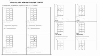 Writing Equations From Tables Worksheet Elegant Identify Linear Equations and Writing Linear Equations