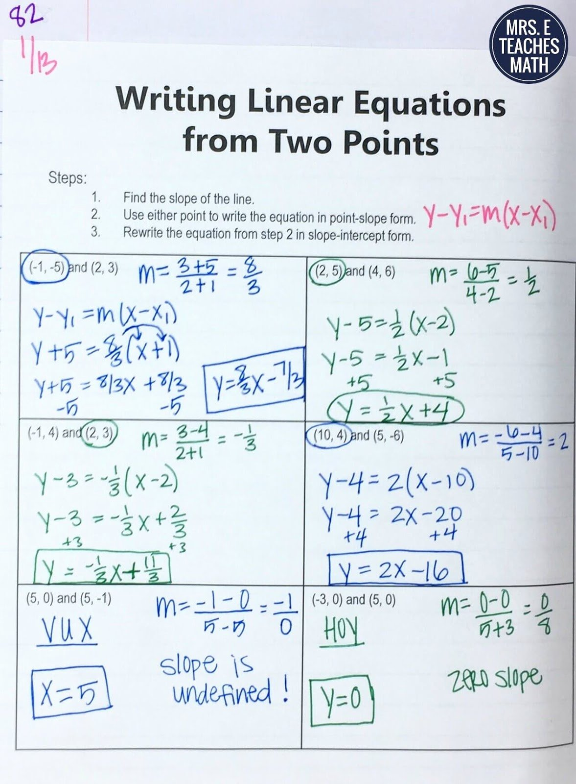 Writing Equations Of Lines Worksheet Awesome Equations Of Lines Inb Pages