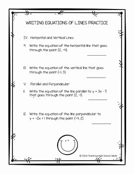 Writing Equations Of Lines Worksheet Best Of Algebra Writing Equations Of Lines Review Worksheet and