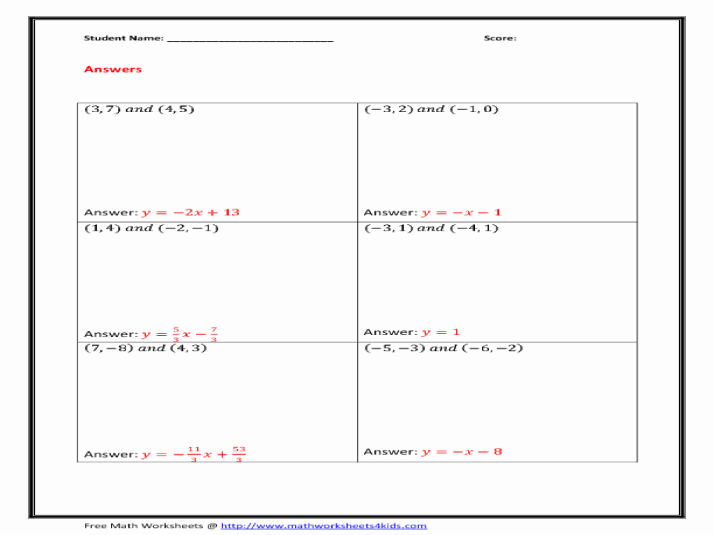 Writing Equations Of Lines Worksheet Best Of Equation Line Given Slope and Point Worksheet